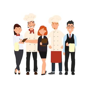 Chef, assistentes, gerente ou anfitrião, garçonete ou anfitriã.
