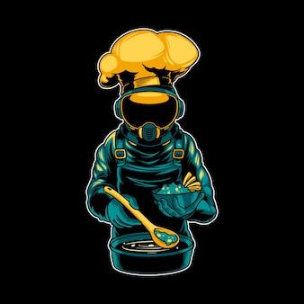 Chef astronauta cozinhando alimentos
