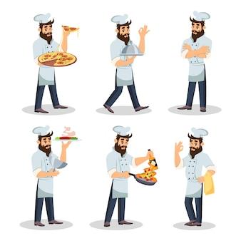 Chef barbudo de boné e avental que cozinhar refeições, carregando pratos.