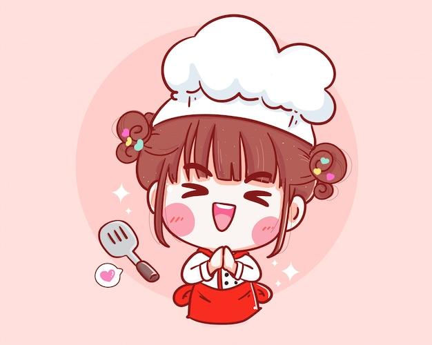 Chef bonito com espátula