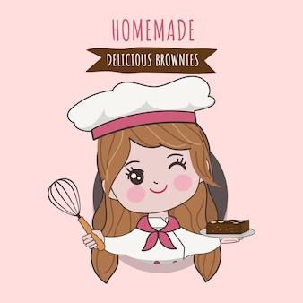 Chef bonito de mulher está cozinhando o personagem. ilustração de mão desenhada.
