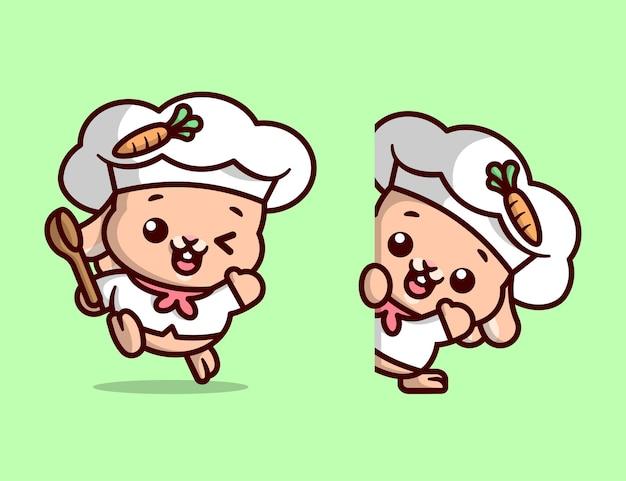 Chef bonito pequeno coelho branco em duas opções de desenho desenho de mascote de alta qualidade