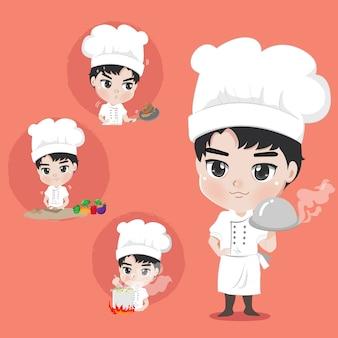 Chef boy mostrando muitas ações culinárias