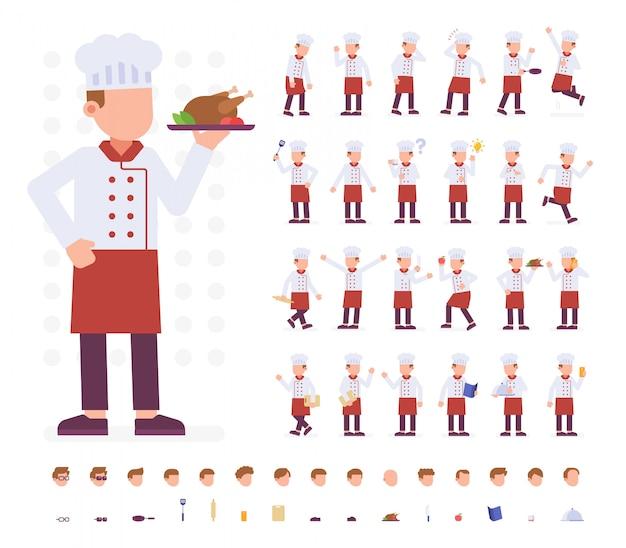 Chef character set em poses diferentes