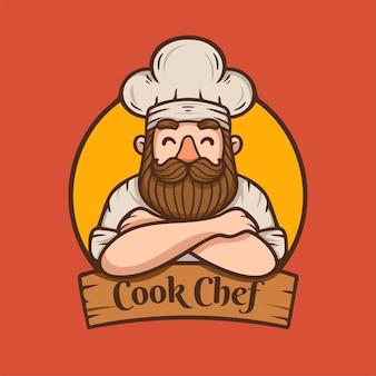 Chef com logotipo de mascote de ilustração de bigode e barba