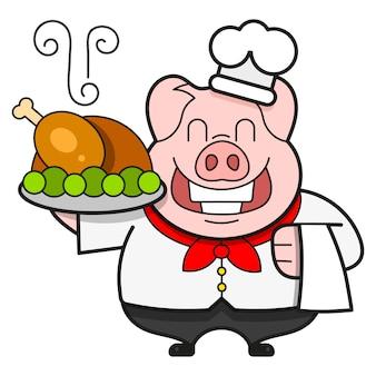 Chef com pato assado em uma bandeja, bon appetit.