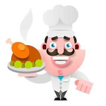 Chef com pato assado em uma bandeja