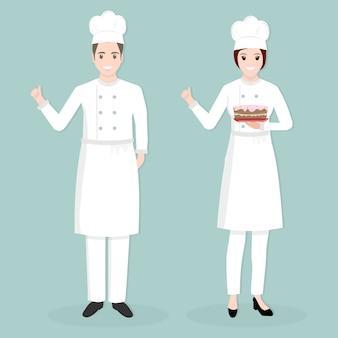 Chef com pessoas de caráter de bolo