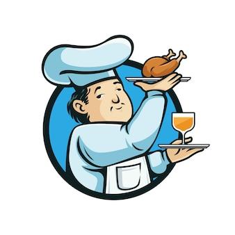 Chef com um pedaço de frango e um copo de logotipo de vinho.