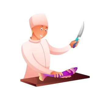 Chef cortando personagem plano de peixe, cozinheiro picar ingrediente para o prato