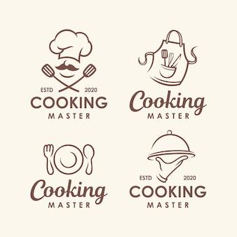 Chef, cozinha conjunto de modelo de logotipo.