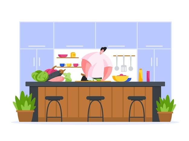 Chef cozinhando em ilustração plana de cozinha de restaurante Vetor Premium