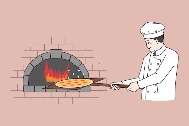 Chef cozinhando pizza em forno de pedra em restaurante