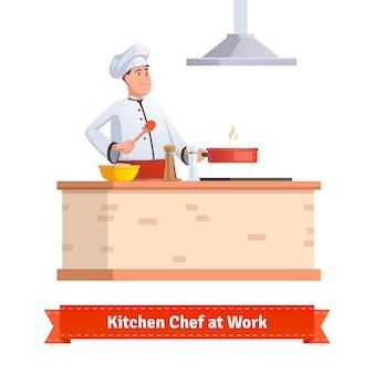 Chef cozinhar comida