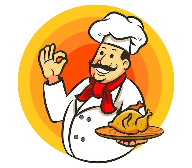 Chef cozinhar frango frito e delicioso sinal