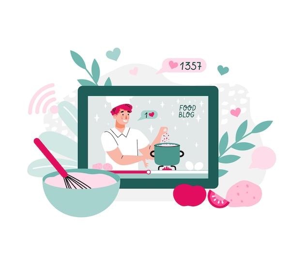 Chef cozinheiro cozinheiro blogueiro de comida mostrando tutoriais ilustração vetorial de desenho animado isolada
