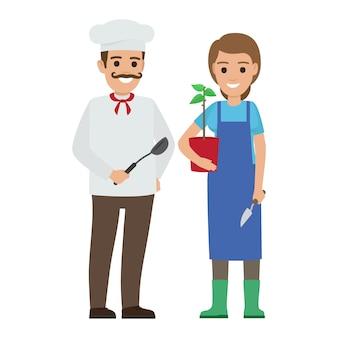 Chef cozinheiro e jardineiro. duas pessoas sorridentes