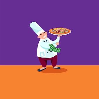 Chef da pizza com pizza grande quente na mão. ilustração vetorial de desenho animado