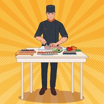 Chef de arte pop fazendo sushi. processo de preparação de comida tradicional japonesa.