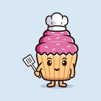 Chef de bolinho fofo. ilustração do ícone do personagem de comida