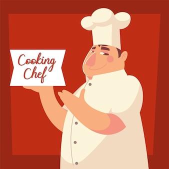 Chef de cozinha rotulando ilustração vetorial de restaurante homem trabalhador