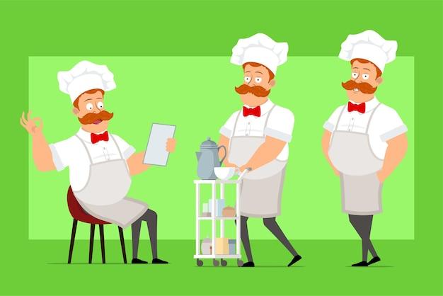 Chef de desenho animado cozinheiro personagem de uniforme branco e chapéu de padeiro