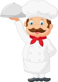 Chef de desenho animado, servindo comida em uma bandeja de tira