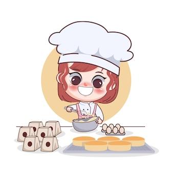 Chef de garota feliz e fofa fazendo bolo de ovo ilustração da arte dos desenhos animados