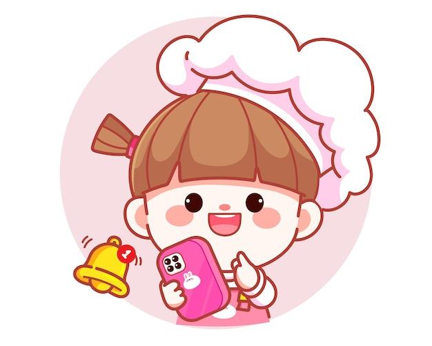 Chef de garota feliz e fofa segurando um smartphone com logotipo de banner de notificações ilustração da arte dos desenhos animados