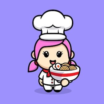 Chef de garota fofa com design de mascote de macarrão ramen