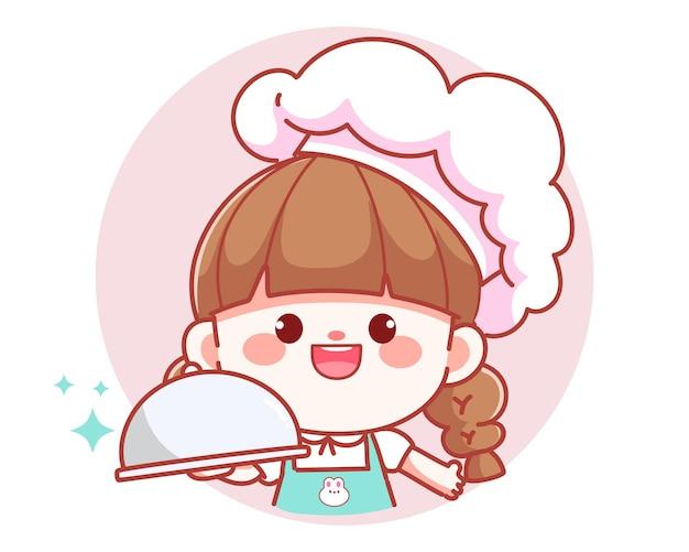 Chef de garota fofa segurando a bandeja do prato sobre o logotipo do banner ilustração da arte dos desenhos animados