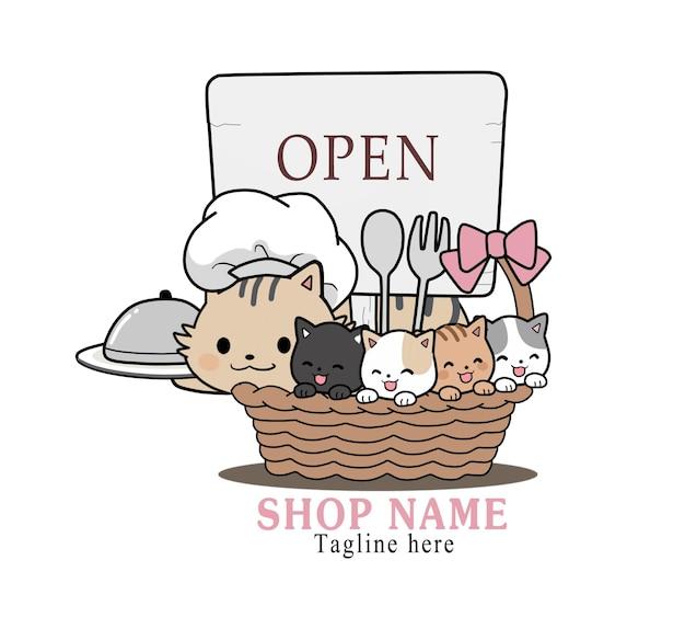 Chef de gato fofo com gatinho para ilustração dos desenhos animados da loja de logotipo