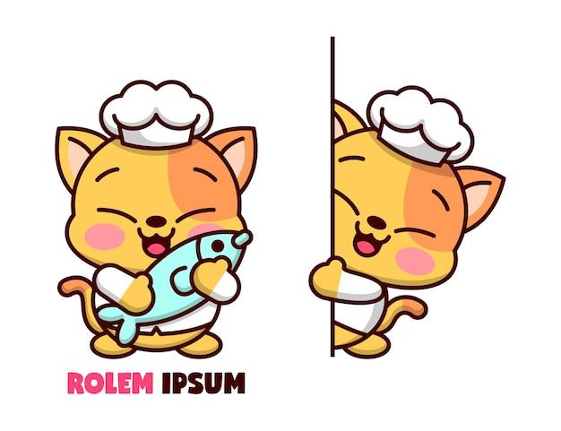Chef de gato pequeno bonito em duas ações diferentes e mostrando rosto feliz, logotipo de mascote