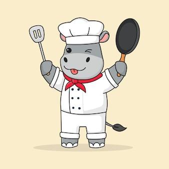 Chef de hipopótamo fofo segurando a espátula e a frigideira