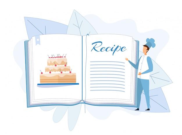 Chef de homem em pé perto de receita de bolo no livro de receitas