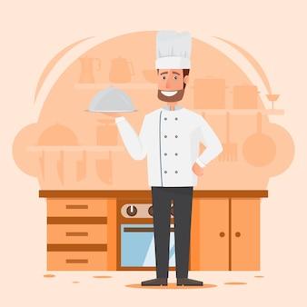Chef de homem profissional com fundo de cozinha do restaurante