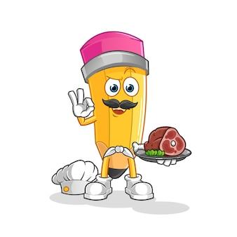 Chef de lápis com mascote de carne. desenho animado