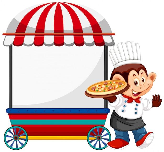 Chef de macaco com carrinho de vendedor