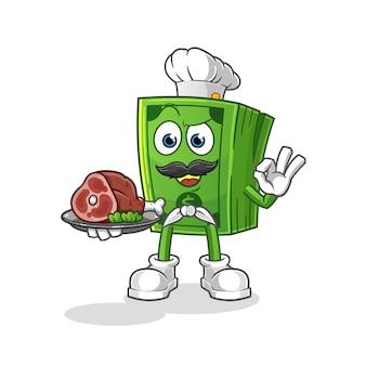 Chef de milho pop com mascote de carne. desenho animado