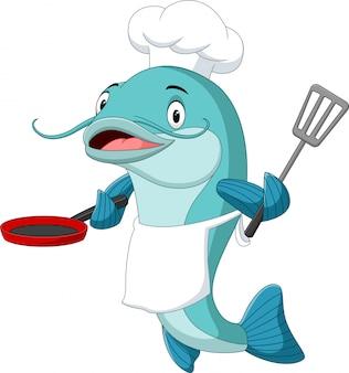 Chef de peixe-gato dos desenhos animados, segurando uma frigideira e espátula
