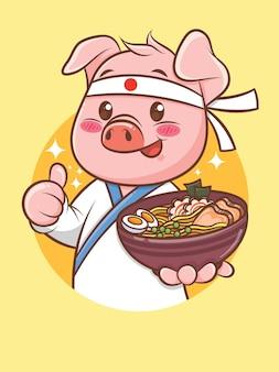 Chef de porco bonito segurando uma comida japonesa ramen. personagem de desenho animado e ilustração do mascote.