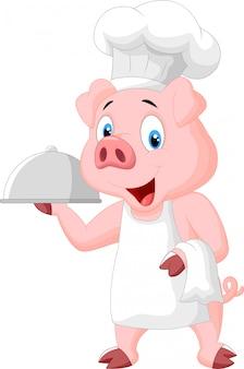 Chef de porco feliz segurando uma bandeja