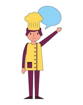 Chef de restaurante com bolha do discurso