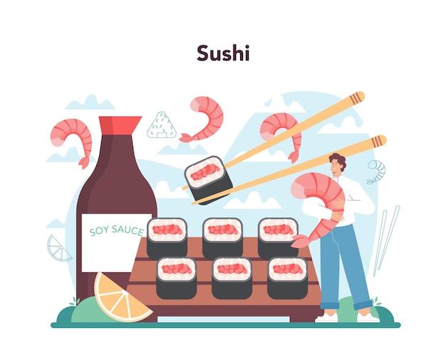 Chef de restaurante conceito de sushi chef cozinha pãezinhos e sushi