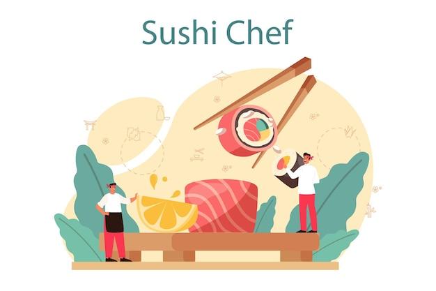 Chef de restaurante cozinhando pãezinhos e sushi