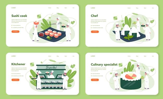 Chef de restaurante cozinhando rolos e banner da web de sushi ou conjunto de páginas de destino