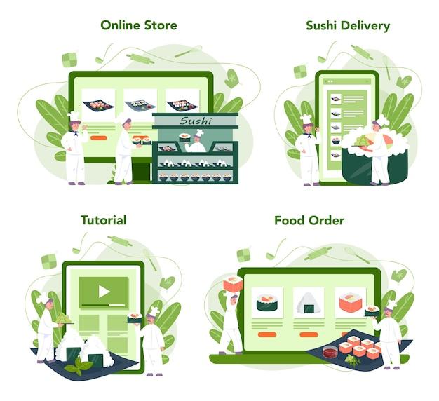 Chef de restaurante cozinhando rolos e serviço online de sushi ou conjunto de plataforma