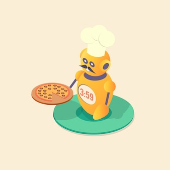 Chef de robô fazendo pizza