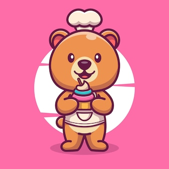 Chef de urso fofo com ícone de desenho animado de ilustração vetorial de bolo