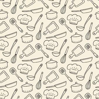 Chef do restaurante. padrão sem emenda desenhada de giro de mão. ilustração